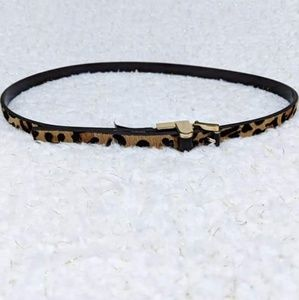 Michael Kors Leather Calf Hair Animal Print Belt